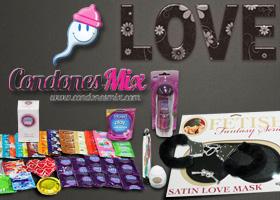 Kit de preservativos y juguetes eróticos