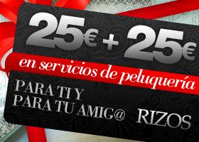 50 Vales de 25€ + 25€ en Rizos Peluquerías