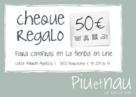 2 cheques regalo para la tienda on line de 50€