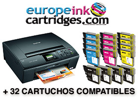 Impresora Brother + 32 cartuchos compatibles