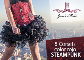 5 Corsets color rojo STEAMPUNK